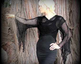 Witchy Morticia Wrap Sweater ~ long pointed sleeves for belly dance, fairy gothic~ black, brown, purple, red ~ mesh knit ties front or back