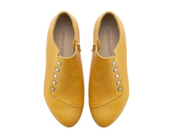 Yellow dress shoes, Grace, comfortable flat leather shoes by Tamar Shalem