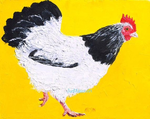 Chicken art Hen painting kitchen art FRAMED wall art