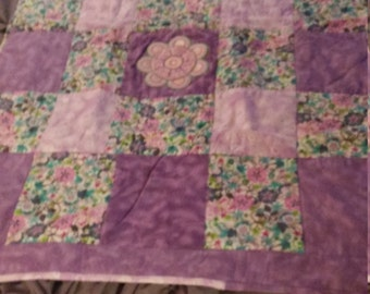 Cutest Soft flower applique baby blanket toddler quilt flannel REVERSIBLE