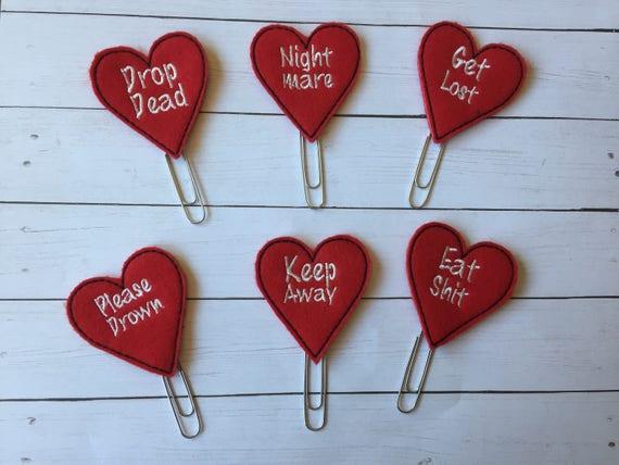 Anti-Valentines planner Clip/Planner Clip/Bookmark. Heart Planner Clip. Love Planner Clip. Valentine Planner Clip. Valentines Clip.