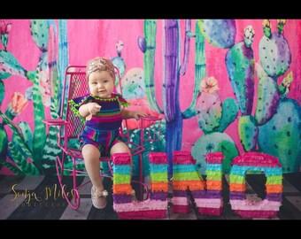 UNO Piñata Letters  CUSTOM order- Fiesta decoration - Photo Prop - Table Decoration