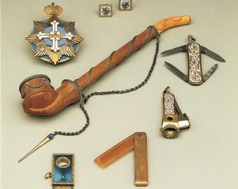 Faberge Giclee Print, Imperial Crown Cuff Links, Briarwood Pipe, Cigar Cutter, Mustache Comb, Russian Artwork, Imperial Russia, Carl Faberge