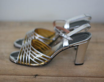 vintage silver leather pumps size 8.5 made in spain