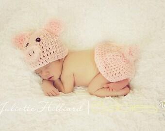 baby crochet patterns - piggy crochet pattern - photo prop pattern - animal hat crochet pattern , hat crochet pattern