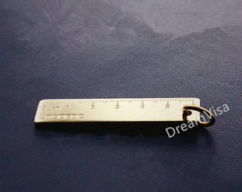 Brass Mini Ruler, Solid Brass Ruler, 2inches Ruler, Brass Tag, Key Chain Ruler, EDC Ruler, Bronze Ruler, Copper Ruler