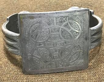 Moroccan art silver cuff anklet bracelet
