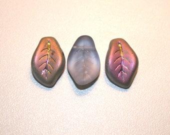 10 Czech glass leaf beads blue purple AB iridescent pink