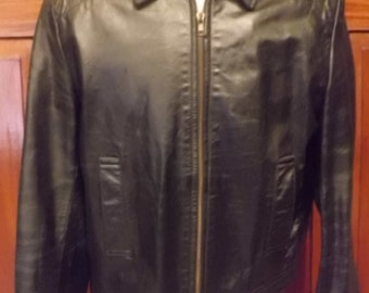 XL 46/48 CAMBRIDGE CLASSICS Black Leather Jacket, Full Quilted Lining