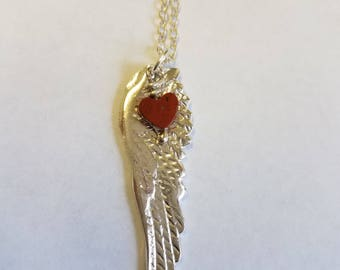 Fine Silver Angel Wing Charm Pendant Necklace