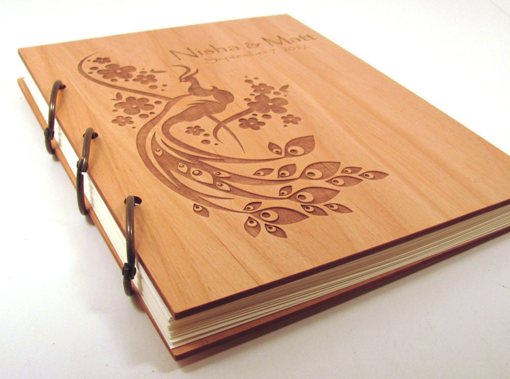 Wood Book Cover Material : Wooden wedding guest book photo album large size peacock