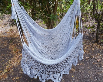 Large hammock chair gray with crochet edge. Fast shipping.