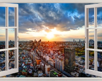 Cityscape 3D Window View Removable Decal Home Decor Mural Wall Vinyl Sticker