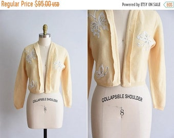 ON SALE 1950s Butterfly Kisses sweater / vintage 50s knit / Heady Knits of California cream knit
