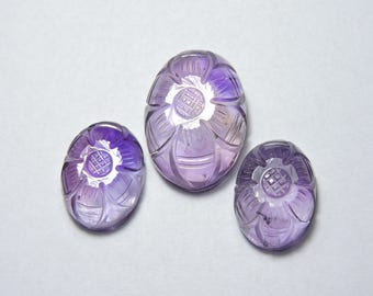 3 Pcs Set Very Beautiful Natural Purple Amethyst Hand Carved Oval Shaped Loose Gemstone Beads Size 24X17 - 18X13 MM