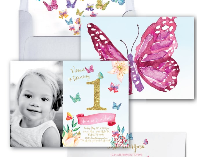 Butterfly First Birthday Photo Invitation// Butterflies // Gold Glitter // Butterfly Invitation/Watercolor // ONE // CORDOBA COLLECTION