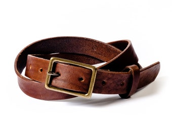 Dark brown thin leather belt for men, goes great with denim and slacks. Thinner belt for dress pants or over dresses for women. Dress belt.