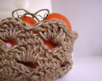 Jute twine bowl or basket PDF crochet pattern no 2 - beginner level