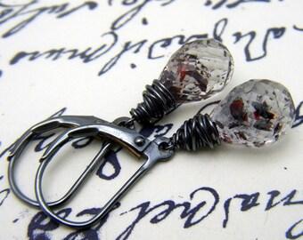 Vampire Tear Earrings, Lepidocrocite Earrings, Moss Amethyst, Blood Droplet Earrings, Mini Vampire Tears, Gothic Jewelry, Dark Jewelry