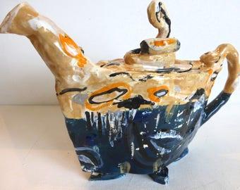 teapot handbuilt funky and whimsical teapot tan indigo blue modern serving teapot