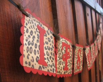 Superb ITu0027S A GIRL   Red U0026 Leopard Banner With Baby Feet   Baby Shower Banner