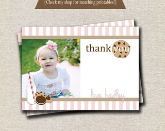 Milk and Cookies Thank You Card - pink and white   Milk and Cookies Photo Card   digital printable