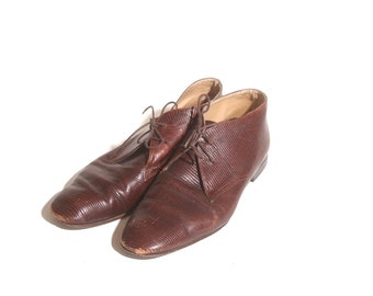 Vintage 90s Gruppo Italiano Textured Brown Oxford Lace up Dress Shoes size 8.5M
