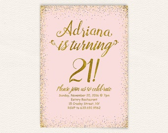 Girly blush pink gold glitter 21st birthday party invitation for women, 21st birthday invitation printable, printable jpg or pdf file 18