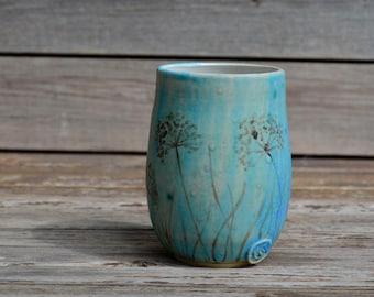 Dandelion turquoise stoneware mug -  Stoneware Teacup  in turquoise