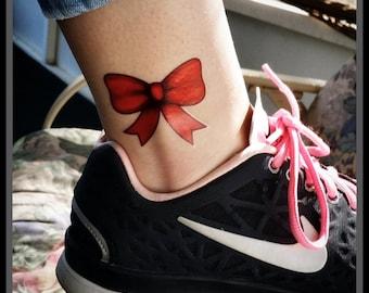 Temporary tattoos red bow fake tattoos body art
