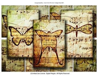 Grunge Butterflies Digital Collage Sheet ATC