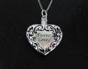 Ashes Necklace - Filigree Heart Container For Ashes, Sterling Silver Cremation Jewelry, Pet Ashes