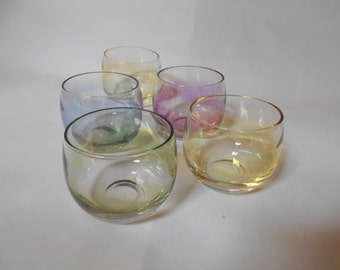 Vintage Federal Glass Roly Poly Set of 5 Glasses Gem-Tone Pastel Iridescent Tumblers