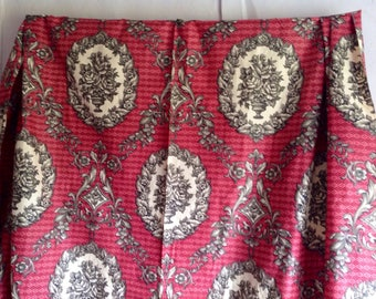 French, Antique Fabric, Vintage Fabric Curtain Floral Panel, Neo Classical Pink Grey Urns / Home Furnishings/ 5.2 yd Decorative Textiles