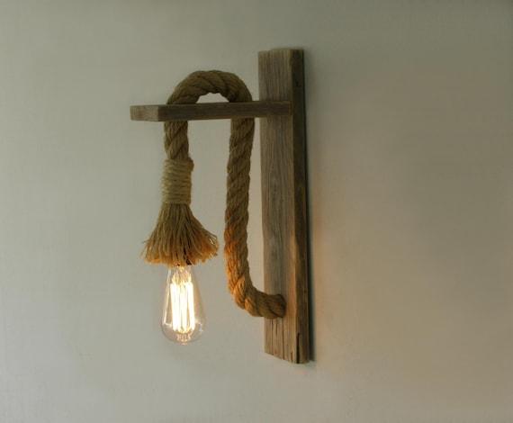 bougeoir bois r cup r avec une corde lampe de mur de corde. Black Bedroom Furniture Sets. Home Design Ideas