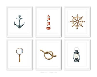 Nautical Prints, Anchor Print, Lighthouse Print, Nautical Decor, Set of 6 Nautical prints, 5x7 or 8x10 on 8.5x11, frames not included