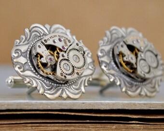 STEAMPUNK CUFFLINKS vintage Bulova 17 jeweled watch movement cuff links
