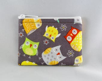 Owls on Gray Coin Purse - Coin Bag - Pouch - Accessory - Gift Card Holder