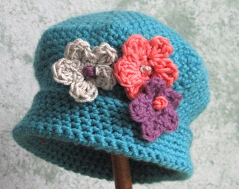 Spring Baby Crochet Hat Pattern With Flower Trim Instant Download Multi-Sized May Sell Finished