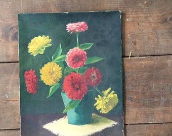 Vintage oil painting | zinnias| a cottage garden