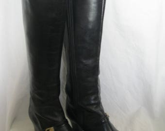 Black Leather Tall Frank More Boots Size 5 B