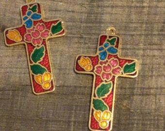 Cloisonné Cross Pendants (2)