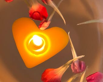 Floating Candle, Beeswax Candle, Floating Beeswax Candle, Valentine Candle, Floating Heart Candle