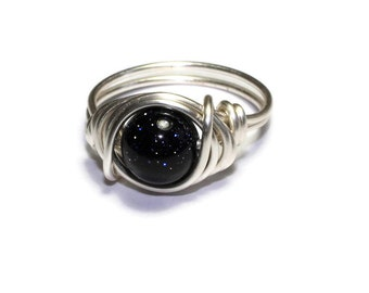 Constellation Ring - Blue Goldstone Rings - Galaxy Jewelry - Stars - Night Sky ring - Universe Jewelry
