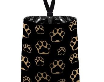 Car Trash Bag // Auto Trash Bag // Car Accessories // Car Litter Bag // Car Garbage Bag - Paw Print Brown Black Light Tan Dog Cat Pet