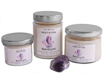 Meditation Crystal Candle / Amethyst Candle / Crystal Candle / Meditation Candle / Amethyst Crystal Candle
