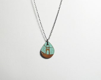 St Johns Bridge Painted Blue Necklace, Small Wood Teardrop