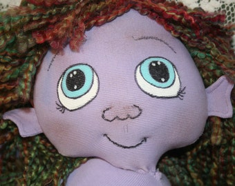 Alien fantasy baby cloth doll 20 inch w/ custom outfit and toy OOAK hand-crafted w/ upcycled materials Starseed Kid series by Mandy Wildman