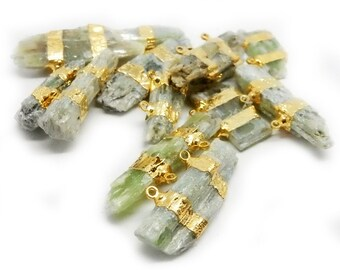 10% SALE Freeform Green Kyanite Slab Double Bail Pendant with Electroplated 24k Gold Bands (S95B11-01)