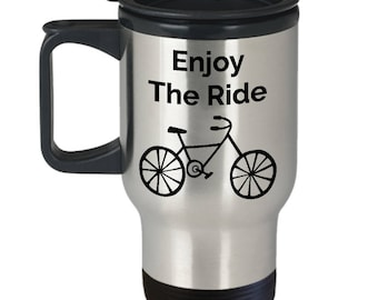 Bicycle Travel Mug - Mother's Day Gift For Cyclist Bike Rider Bicyle Lover - Enjoy The Ride Stainless Steel Insulated Tumbler- Cycling Gifts
